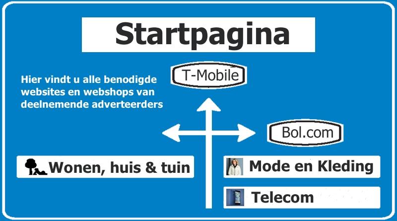 Startpagina met alle deelnemende websites/webshops.